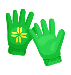 Cute green gloves on a white vector