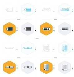 Document icon paper pen pencil and Utility knife vector