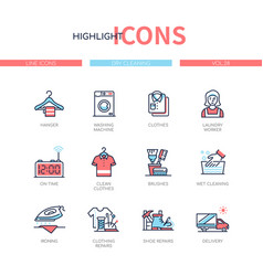dry cleaning - line design style icons set vector image