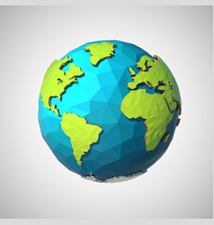 earth in low poly style polygonal globe icon vector image