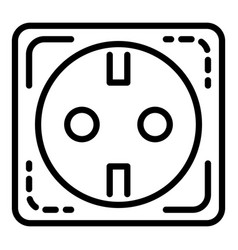 Euro electric socket icon outline style vector