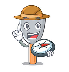 Explorer cartoon putty knife in plaster vector