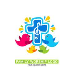 Family worship logo family glorifies god vector