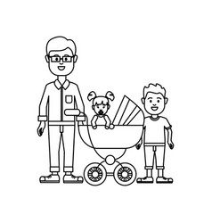 Figure man with glasses and his baby and son icon vector