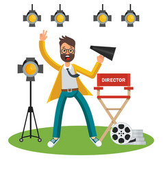 film director on set vector image