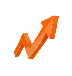 Financial indication arrow up orange 3d graph vector
