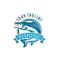 fishing logo bass fish club emblem theme vector image