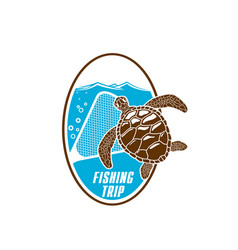 Fishing trip icon of turtle and fishnet vector