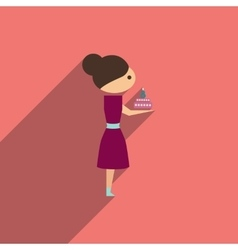 Flat icon with long shadow girl with cake vector