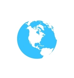Flat simple blue earth icon isolated on white vector image