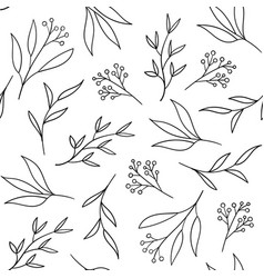 floral seamless pattern with hand drawn herbs vector image
