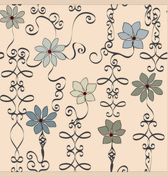Fun and fanciful neutral wrought iron floral vector