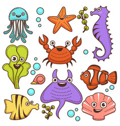 funny marine inhabitants with cute friendly faces vector image