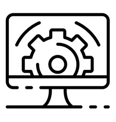 Gear on computer screen icon outline style vector