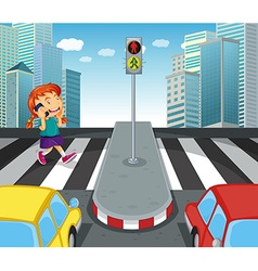 Girl talking on the phone and crossing street vector