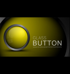 Glass yellow button vector