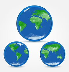 Globe earth abstract icons in polygonal style vector