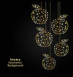 Gold apples made of connected lines and dots vector
