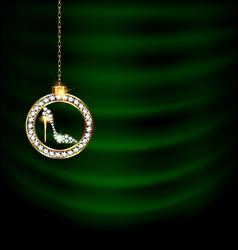 Green drape with jewel christmas shoe vector