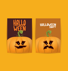 halloween vertical cartoon posters set with vector image