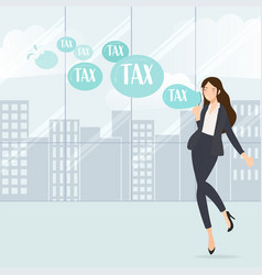 happy business woman blowing tax balloon eps10 vector image
