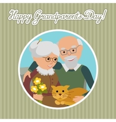 Happy senior man woman family with cat vector image