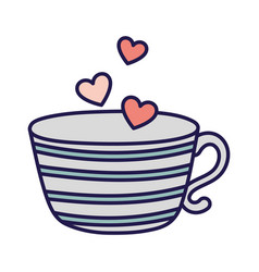 Happy valentines day coffee cup flying hearts love vector