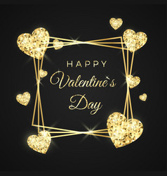 happy valentines day greeting card golden frame vector image