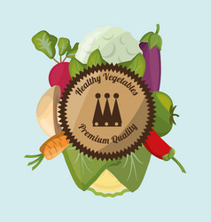 healthy vegetables fresh harvest label vector image