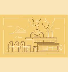 industrial building - modern line design style vector image