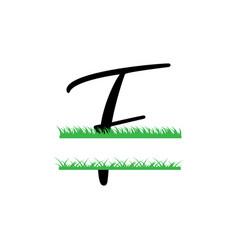 initial f grass monogram split letter isolated vector image