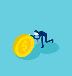 Isometric businessman push coin concept business vector