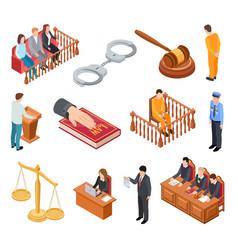 isometric court law trials defendant witness vector image