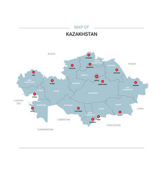 Kazakhstan map with red pin vector