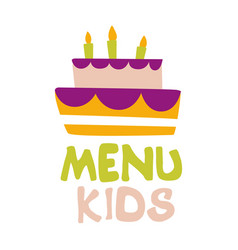 Kids food cafe special menu for children colorful vector