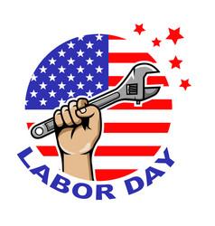 Labor day circle badge vector