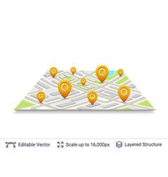 Location pins on city plan vector