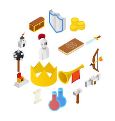 medieval isometric 3d icons set vector image