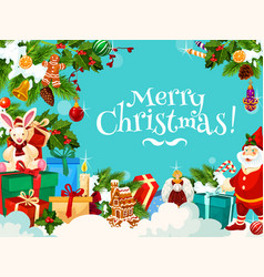 merry christmas greetings with santa gifts vector image