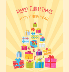 merry christmas happy new year postcard with gifts vector image