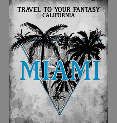 miami - concept in vintage graphic style for vector image