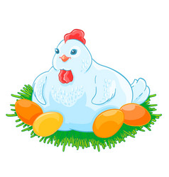 mother hen is sitting the eggs hatch in the nest vector image vector image