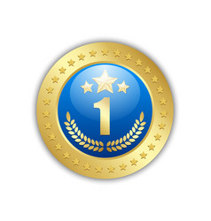number one quality badge placed on white vector image