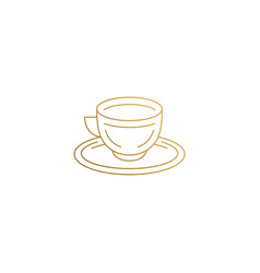 outline icon cup on saucer hand drawn with thin vector image
