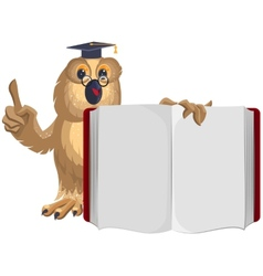 Owl teacher holding open book and shows up vector