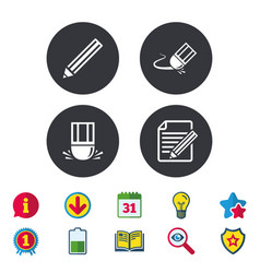 Pencil icon edit document file eraser sign vector
