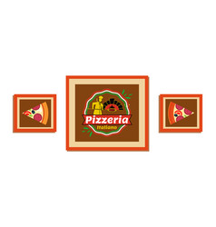 pictures in frame with pizza pizzeria decoration vector image