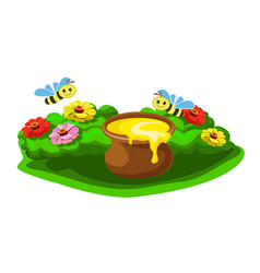 pot of honey in flowers and merry bees vector image