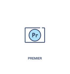 Premier concept 2 colored icon simple line vector
