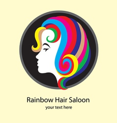 Rainbow hair saloon vector image
